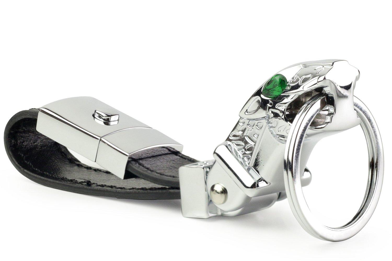 Llavero de coche de lujo Jaguar Metal DPOB, llavero valet cuero de avestruz llavero con 3 llaveros (plata)