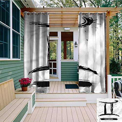 Beihai1Sun Outdoor Curtain Panel for Patio,Zodiac Gemini Grunge Brush Art,Room Darkening, Noise Reducing,W108x96L
