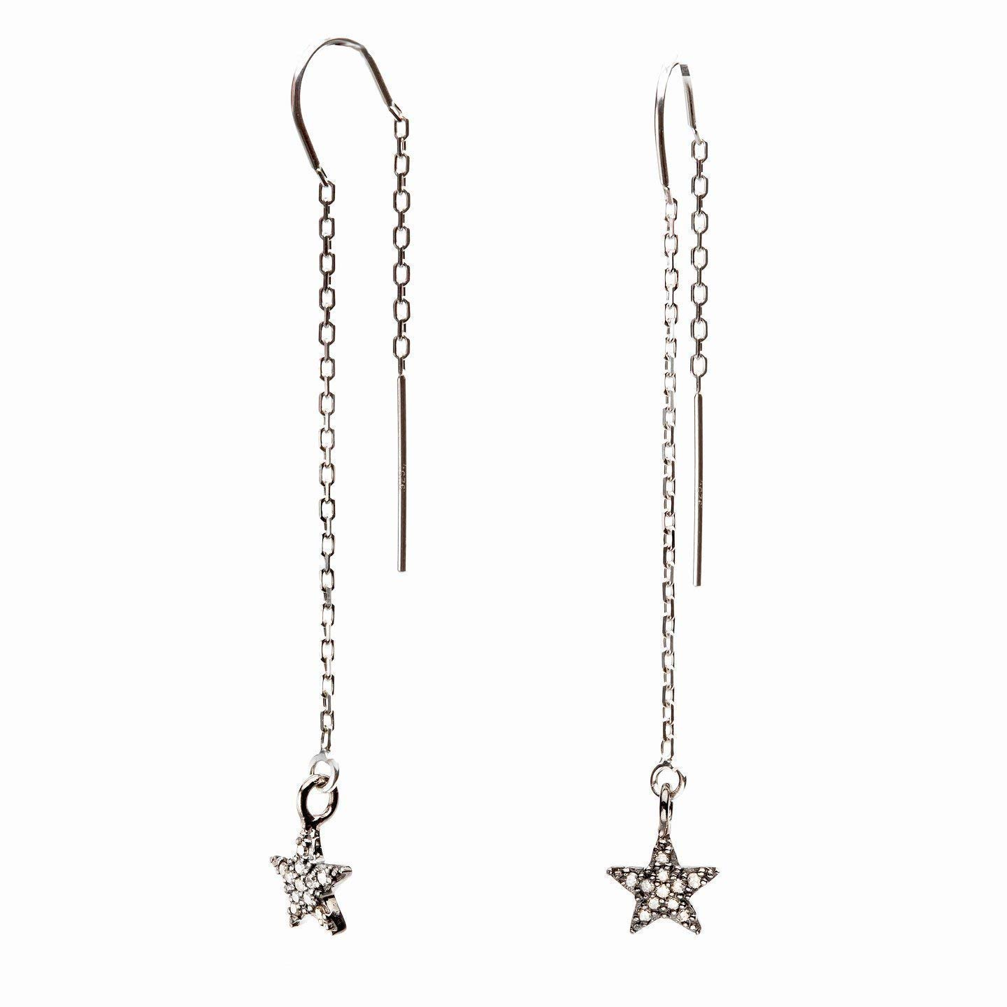 Genuine Real Pave Diamond Star Threader Earrings Sterling Silver Jewelry Gift for Women