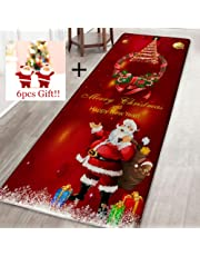 Oyalaiy Thicken Home Decor Ornament Soft Cartoon Xmas Festival Christmas Carpet Non-Slip Bath Mat Comfortable Mat Floor Rug - 40 * 120cm Christmas Wreath