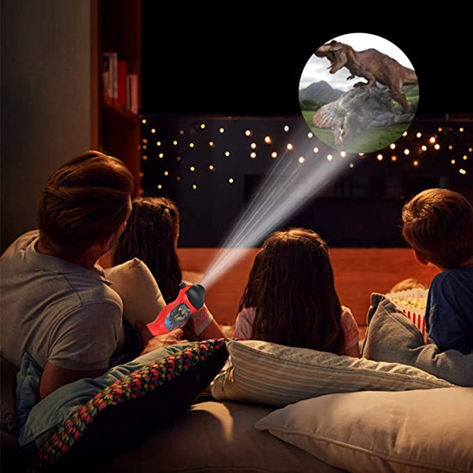 Dinosaur Pattern Torch Projector Flashlight Kids Educational Bedtime Storys Toy