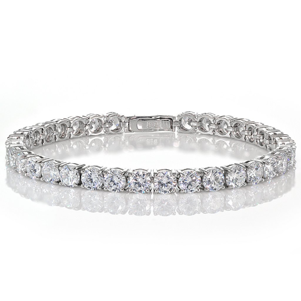 Sterling Silver Cubic Zirconia 5mm Round-cut Tennis Bracelet