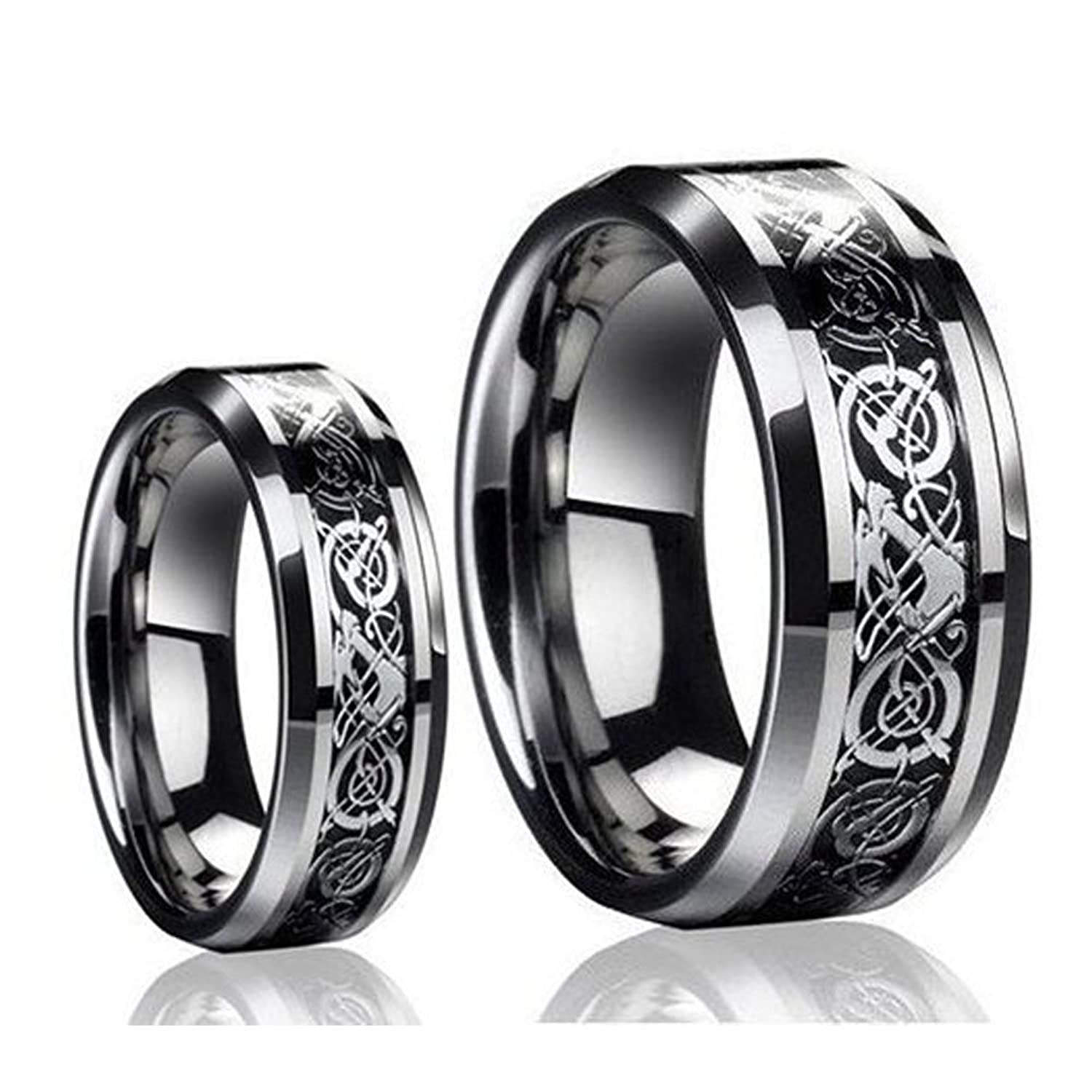 His & Her's 8MM/6MM Dragon Design Tungsten Carbide Wedding Band Ring Set (Available Sizes 5-14 Including Half Sizes)