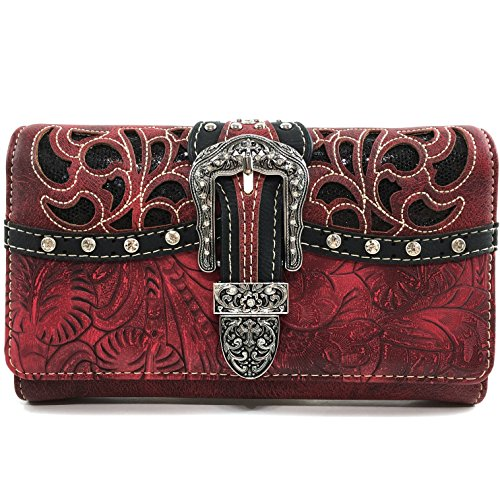 Justin West Gleaming Laser Cut Rhinestone Buckle Studded Concealed Carry Handbag Purse (Red - Red Justin