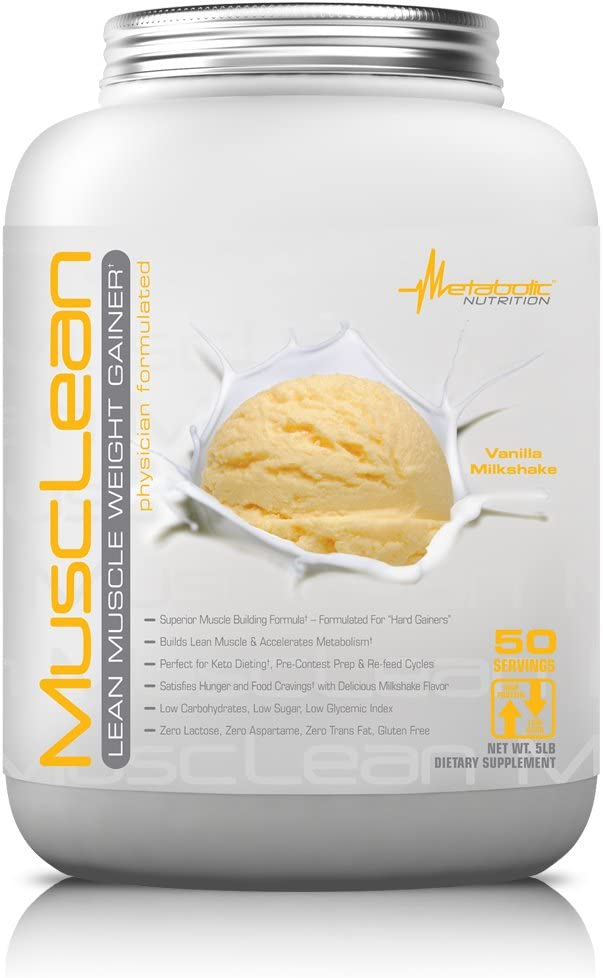 Metabolic Nutrition, Musclean, Whey Protein Meal Replacement, Weight Gainer, High Protein, Low Carb, High Fat, Keto Diet, Digestive Enzymes, 24 Vitamins and Minerals, Vanilla, 5 Pound 50 ser