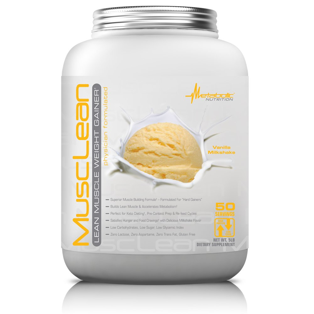 Metabolic Nutrition, Musclean, Whey Protein Meal Replacement, Weight Gainer, High Protein, Low Carb, High Fat, Keto Diet, Digestive Enzymes, 24 Vitamins and Minerals, Vanilla, 5 pound (50 ser)