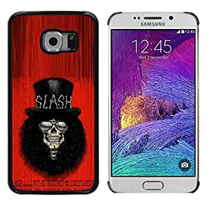 Paccase / SLIM PC / Aliminium Casa Carcasa Funda Case Cover - Rock Roll Guitar Star Player Top Hat - Samsung Galaxy S6 EDGE SM-G925
