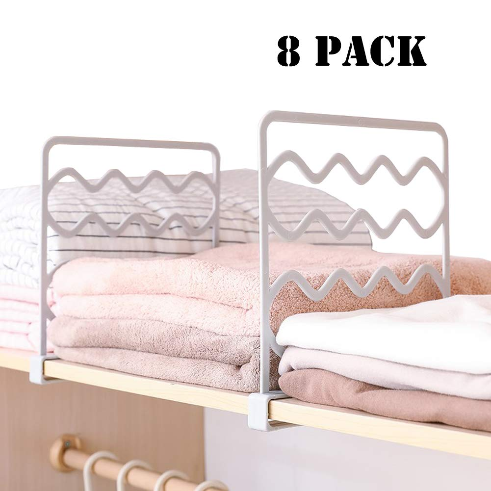 Sooyee 8 PCS Acrylic Shelf Dividers,Perfect for Closets Kitchen Bedroom Cabinets Shelving Separators to Organize Clothes, Books,Towels and Hats, Purses,Thickened Wood Shelf Dividers, White by Sooyee