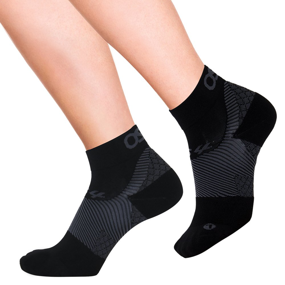 OrthoSleeve FS4 Orthotic Socks (Pair) for Plantar Fasciitis Relief, arch support and foot health featuring patented FS6 technology (Large, Black)