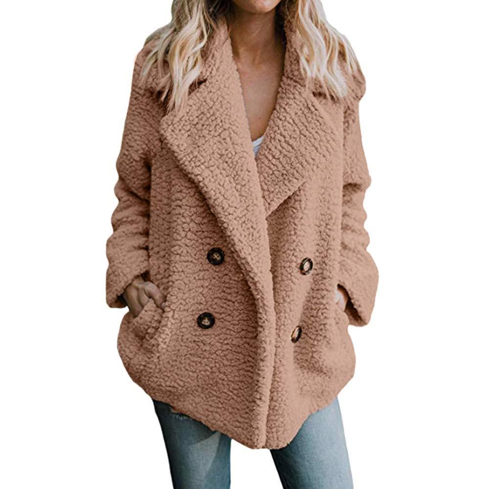 NINGSANJIN Manteau en Laine Femme, Manteau d'hiver en Col V, Blouse à Manches Longues pour Femmes Top Veste Manteau d' hiver en Col V NINGSANJIN-Manteau