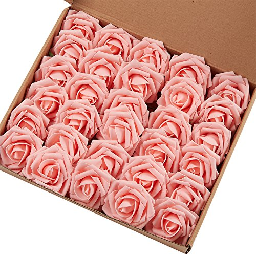 Marry Acting Artificial Flower Rose, 30pcs Real Touch Artificial Roses for DIY Bouquets Wedding Party Baby Shower Home Decor (Light - Rose Pink Light