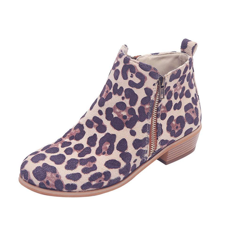 Robemon_Chaussures Femme Automne Hiver Chic Daim Imprimé Léopard Bottes Faible Bottines Automne Fille Façon Zip Plat Boots