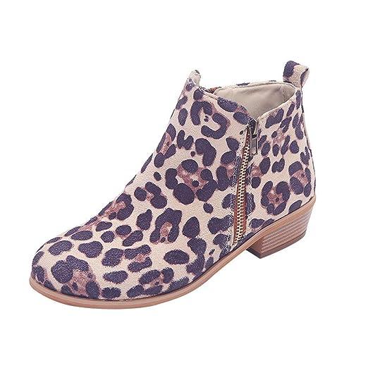 f12558fae8211 Amazon.com  Hunzed Women Ankle Short Booties Ladies Suede Girl s Shoes  Zipper Leopard Print Shoes  Arts