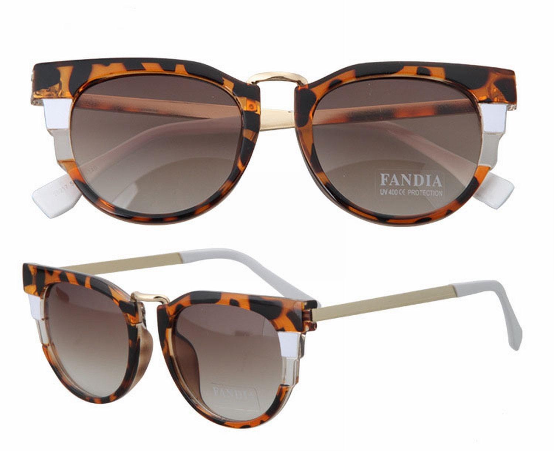 Sonnenbrille Persönlichkeit Mode Stern Sonnenbrille Metallrahmen Gläser Leopard + Weiße Beine H0BA1JVY