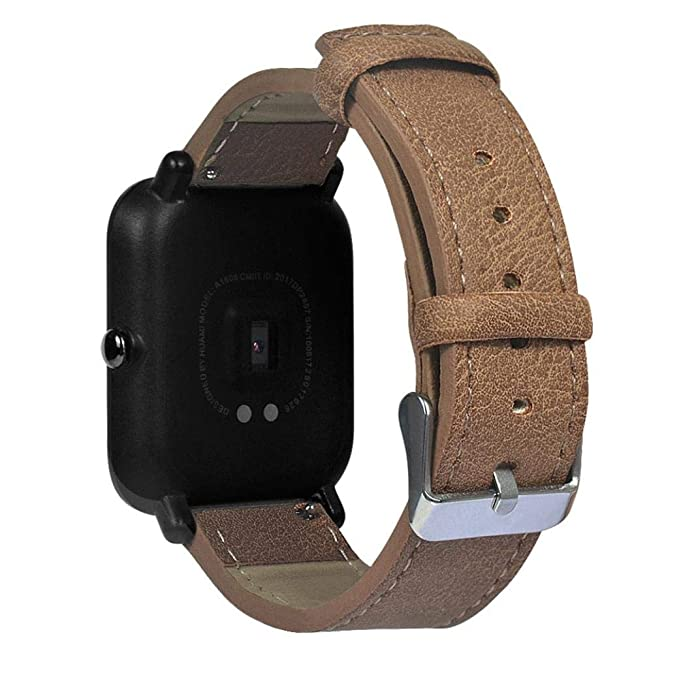 ☀️Modaworld Pulsera de Repuesto Retro de Cuero para Xiaomi Huami Amazfit Bip Youth Watch Muñequera Band Correas de Reloj smartwatch (marrón, ...