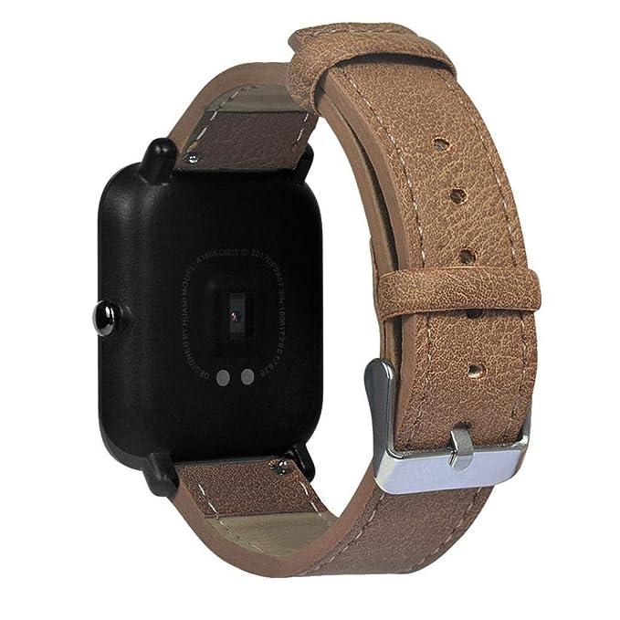 ☀️Modaworld Pulsera de Repuesto Retro de Cuero para Xiaomi Huami Amazfit Bip Youth Watch Muñequera Band Correas de Reloj smartwatch (marrón, ...