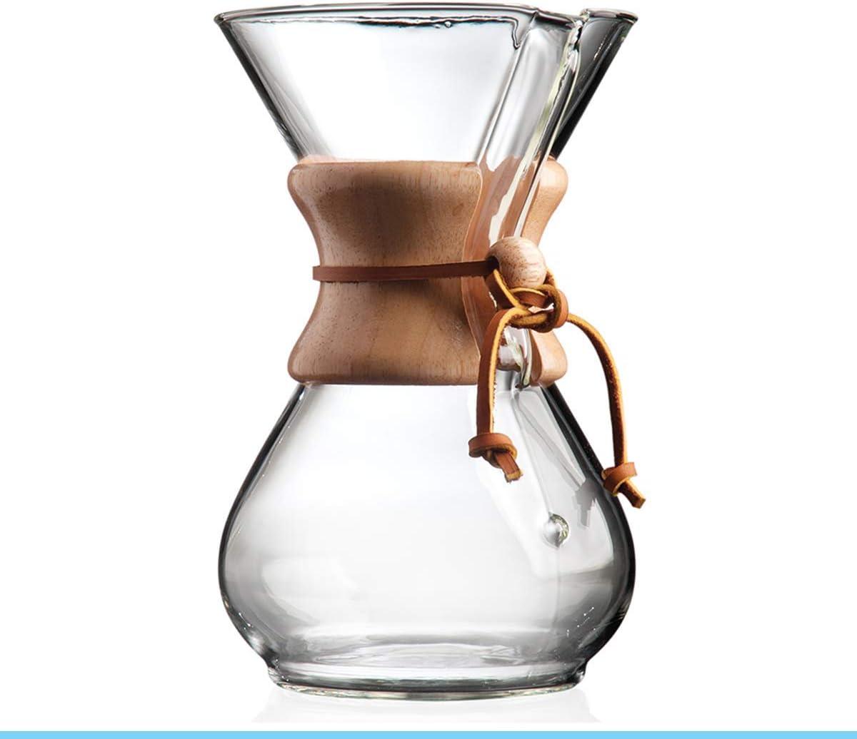 Chemex zB.Kaffeezubereiter6 Tassen 800 ml Glaskaraffe mit Holzhals