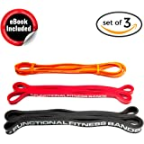 Functional Fitness Pull Up Assistance Resistance Bands Set (Light Medium Heavy Duty) for Mobility, Stretching, Exercise, Chin Ups, Powerlifting, Fitness & CrossFit, Tension Band Range 5-100lbs