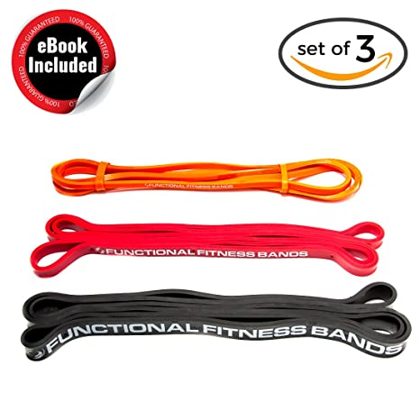 Functional Fitness Pull Up Assistance Resistance Bands Set Light Medium Heavy -