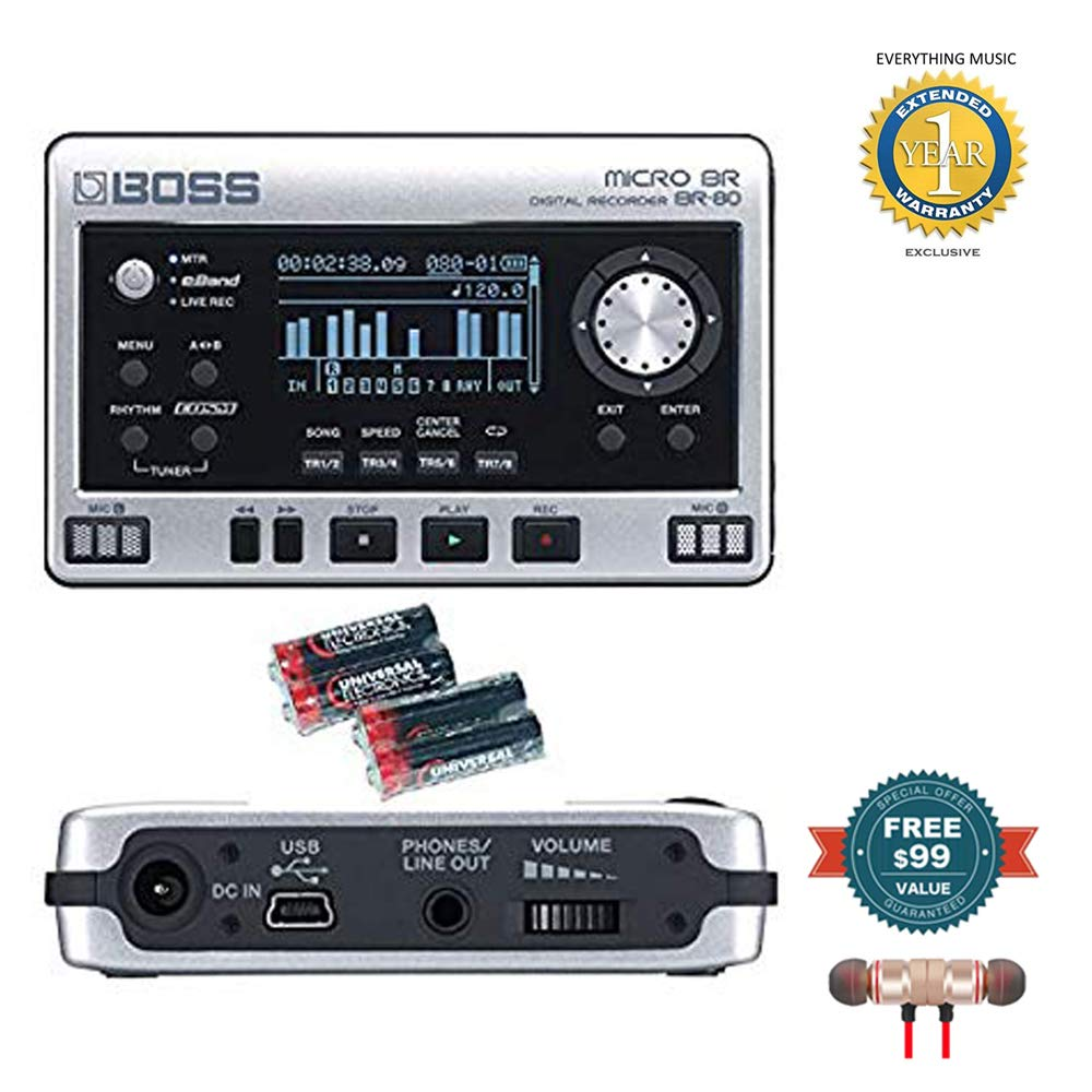 Boss Micro BR BR-80 8-Track Digital Recorder with 4 Free Universal Electronics AA Batteries includes Free Wireless Earbuds - Stereo Bluetooth In-ear and 1 Year Everything Music Extended Warranty