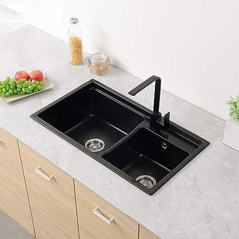 Lavelli da cucina, ispessito al quarzo nero in pietra ...