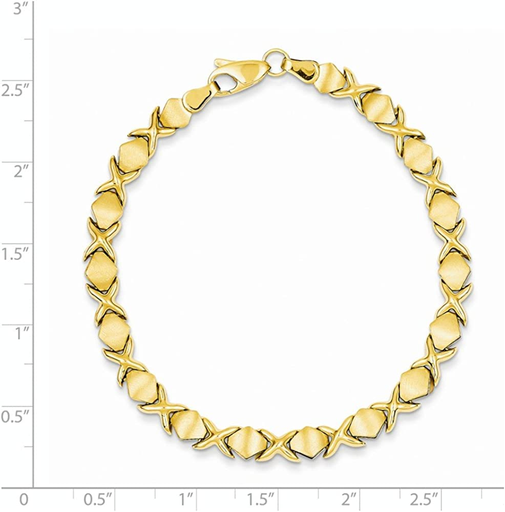 Solid 14k Yellow White Rose Tri-Gold Stampato Heart ID Name Bracelet