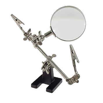 Smartfox - Tercera mano con lupa 60 mm de diámetro y dos de pinzas lötständer Soldadura Manualidades ayuda placa plana: Amazon.es: Bricolaje y herramientas