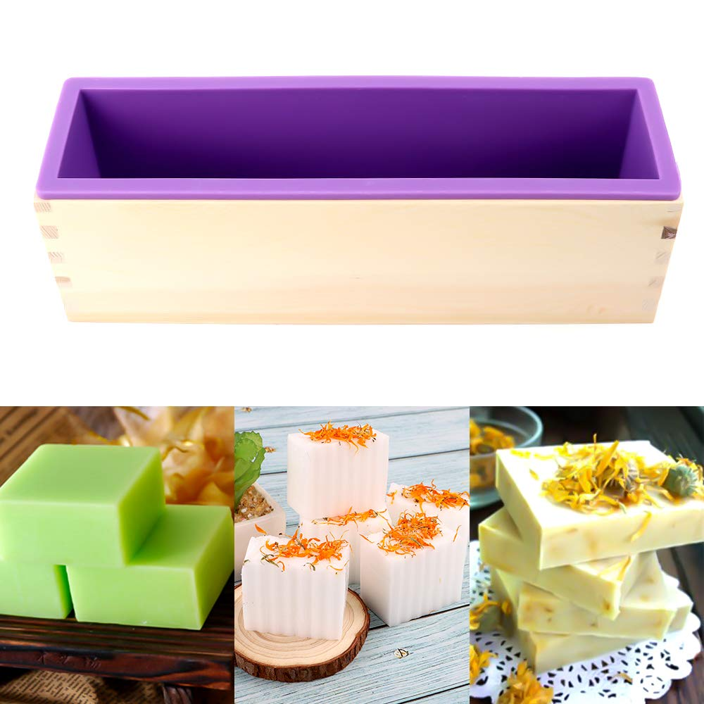 Rectangular Silicone Mold Set for Making Soap with Wooden Boxes YGEOMOR 64oz Loaf Soap Mold 2 Cutters and 100pcs 4x6 inches Bags