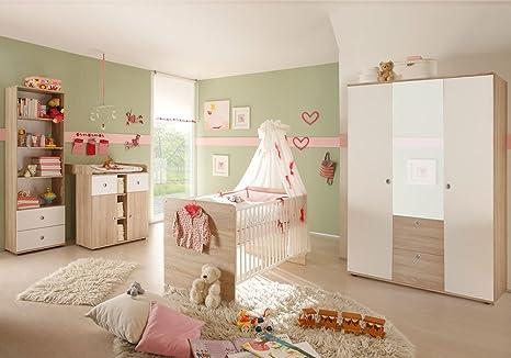 4-tlg. Babyzimmer komplett Set WIKI 2 in Eiche Sonoma / Weiß Babymöbel  Komplettset mit grossem Kleiderschrank mit 3 Türen (davon 1 Spiegeltür), ...