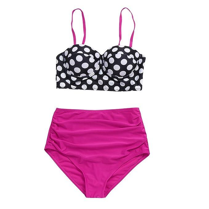 Pinklu Sexy Dividido Bikini De Punto De Onda Retro con Cintura Alta para Mujer Bikini Sexy
