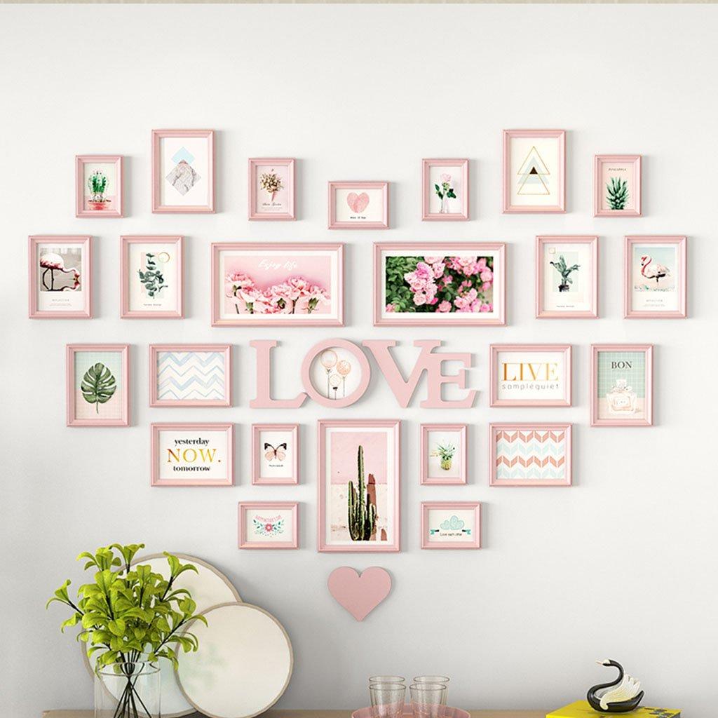 Home@Wall photo frame Living Room Heart Photo Wall Wall-mounted Frame Wall-mounted Assembly European Decoration Creative Love Bedroom Photo Frame (Color : E)