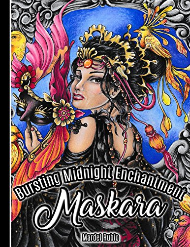 Maskara : Bursting Midnight Enchantment - Artist Edition Adult Coloring Book + 1 mini poster, spiral bound, single sided, perforated pages, toothy paper