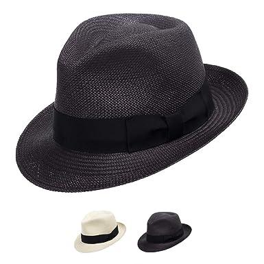 14673721d7113e Ultrafino Classico Trilby Snap Brim Fedora Straw Panama Hat Handwoven in  Ecuador Black 6 7/