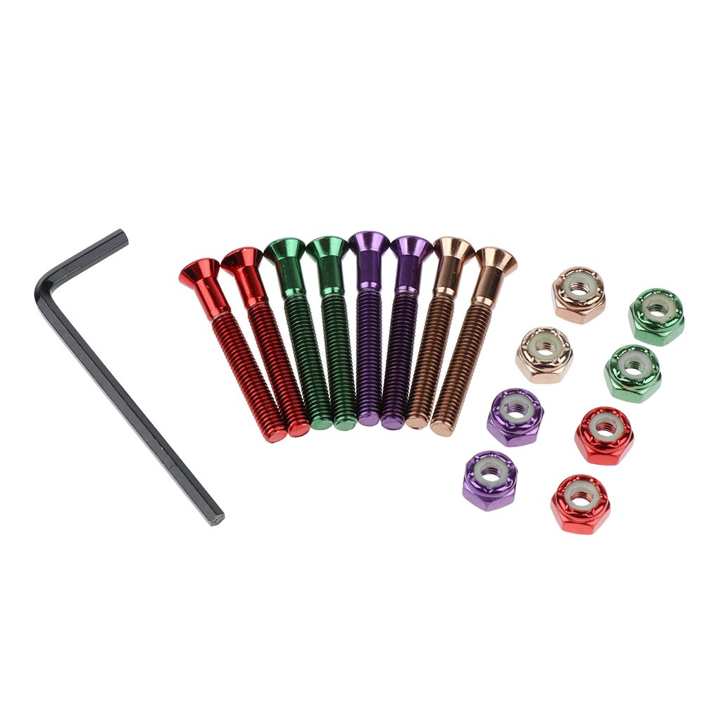 kesoto 1.5 Hexagon Head Skateboard Hardware Set Colorful Carbon Steel Bolts Wrench L Type Tool for Snowboarding Longboarding