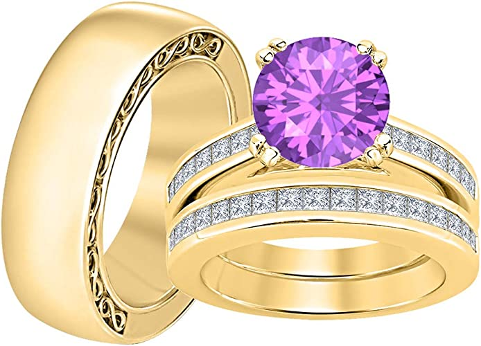 RUDRAFASHION 14k Yellow Gold Plated Round Cut Purple Amethyst 925 Sterling Silver Mens Anniversary Band Ring
