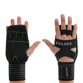 LUXURYDREAM Summer New Levantamiento Pesas Palm Half Finger Wrist, Fitness Guantes Single Parallel Bars Guantes Palm,Green: Amazon.es: Deportes y aire libre