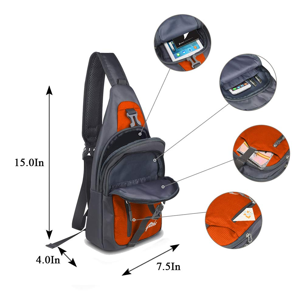 Y&R Direct Sling Bag Sling Backpack,Shoulder Chest Crossbody Bag Purse Nylon Lightweight MulticolorSmall Daypack Outdoor Hiking Camping Travel Women Men Boy Girls Kids Gifts (Orange)