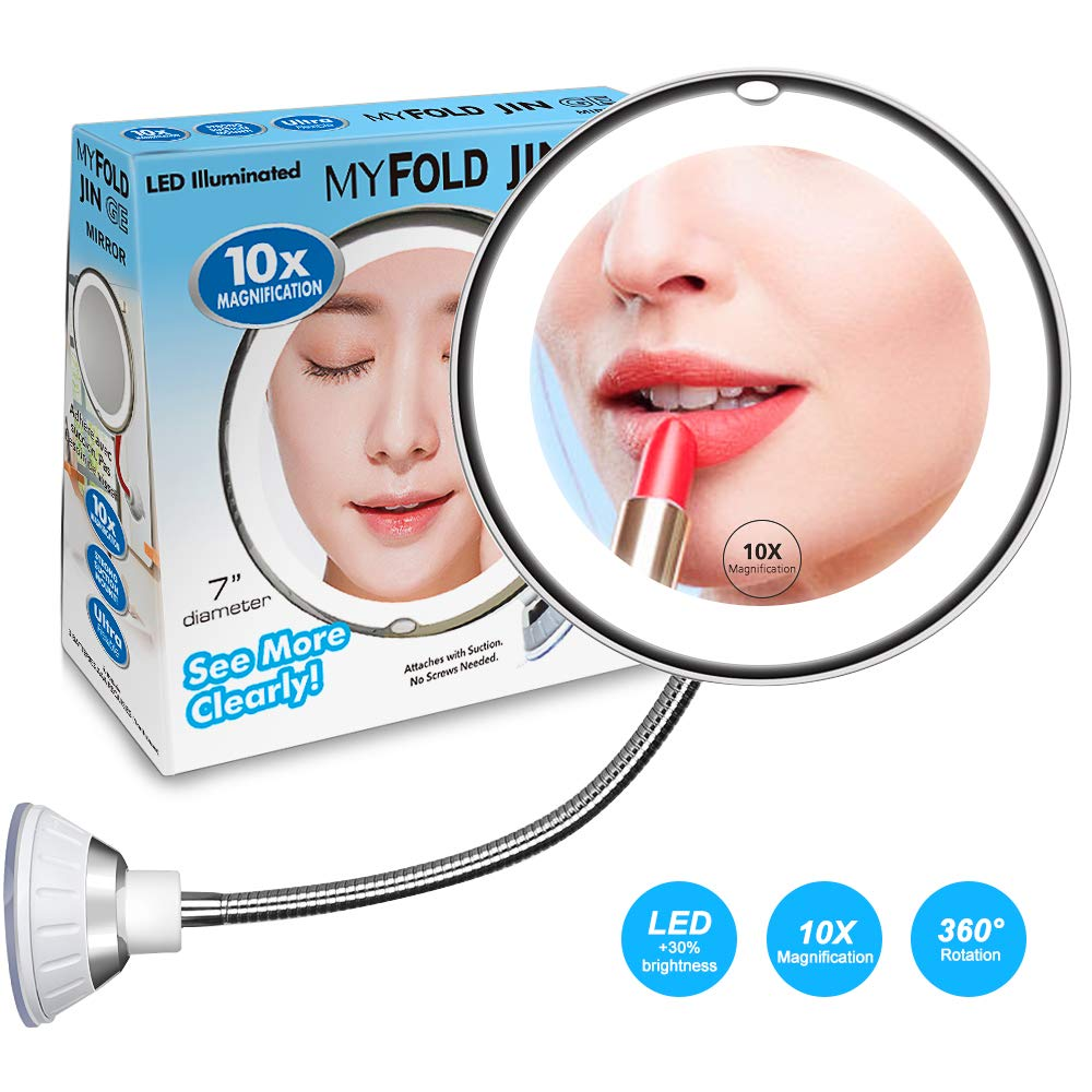 10X Magnifying Makeup Mirror With LED Light, Adjustable Flexible Gooseneck and Locking Suction Cosmetic Magnification Mirrors, 360° Swivel Wall Mirror Vanity Mirror For Home Bathroom