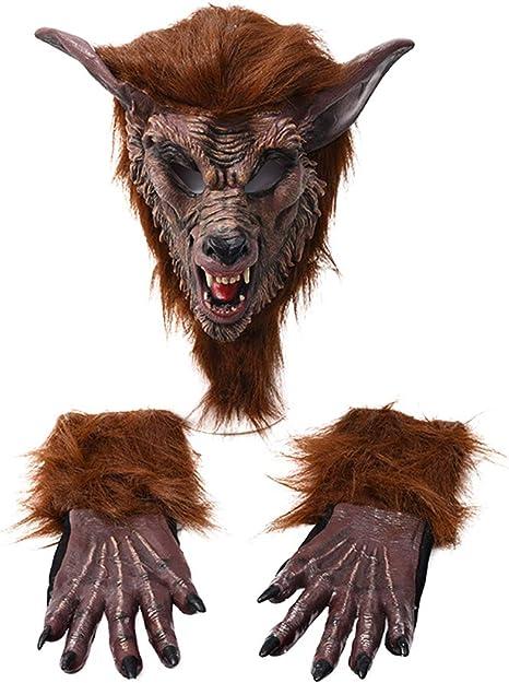 Amosfun 3 Piezas Halloween Máscara De Lobo Y Guantes Disfraz De ...