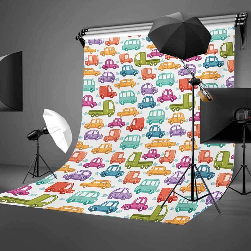 10x12 FT Photo Backdrops,Doodle Style Cars with Vibrant Colors Various Types of Vehicles Truck Bus Limousine Background for Baby Shower Birthday Wedding Bridal Shower Party Decoration Photo Studio