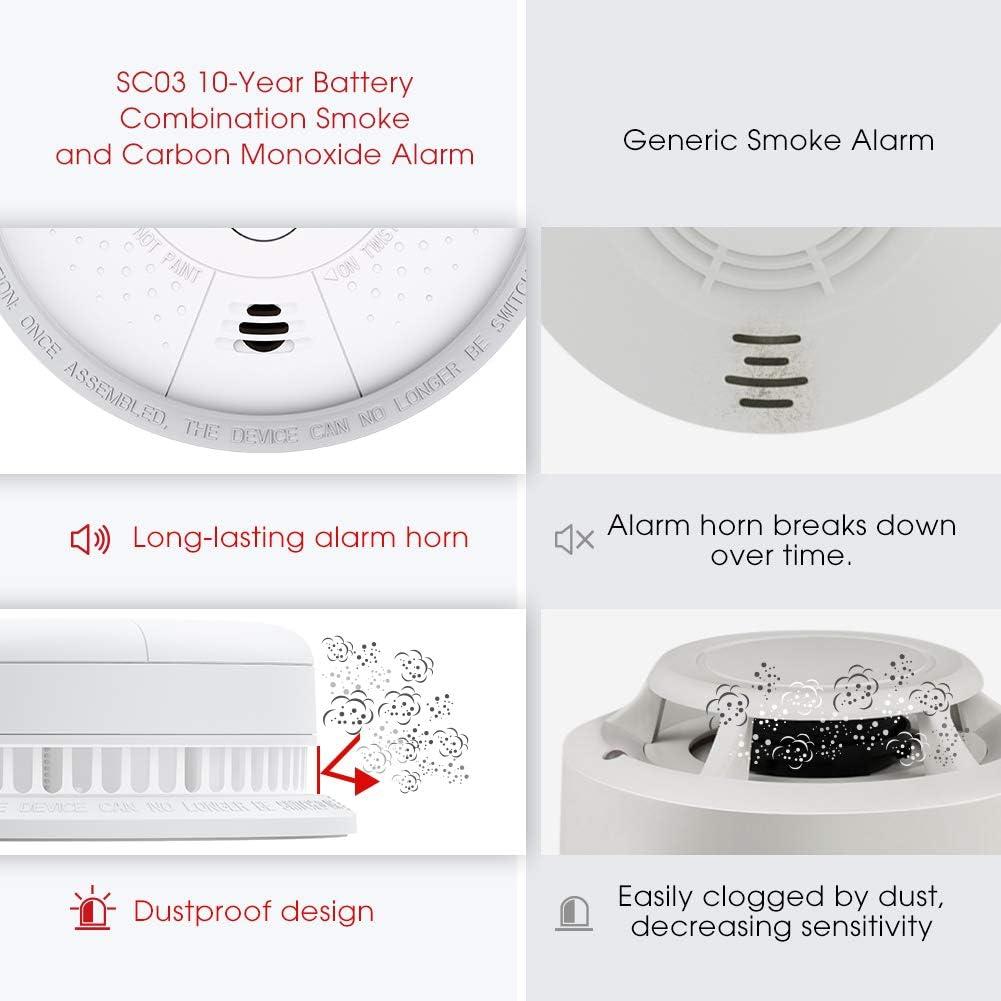 5 Unidades Alarma Combinada de Humo fotoel/éctrica y Mon/óxido de Carbono con bater/ía de 10 a/ños de Vida /útil