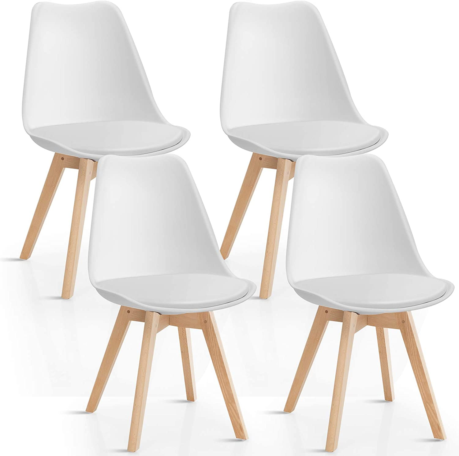 Amazon Com Giantex Set Of 4 Modern Dining Chairs High Backrest Kitchen Chairs Elegant Mid Century Side Chairs W Padded Seat Solid Wood Legs Upholstered Tulip Chair For Dining Room Living Room White