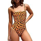 Slash Neck Leopard Printed Bathing Suits, Malbaba Push Up Tummy Control One Piece Swimsuit Swimwear