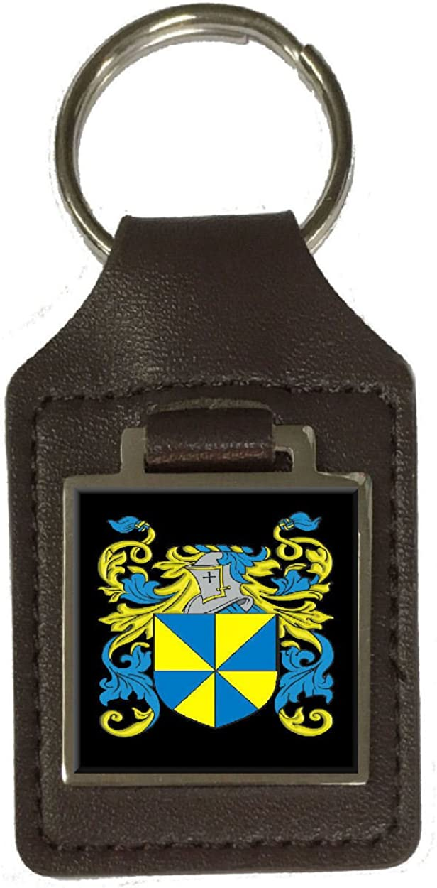 Downie Family Crest Surname Coat Of Arms Brown Leather Keyring Engraved