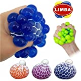 Stress Grape Balls Anti Stress Balls Squishy Balls by LIMBA - Mesh Balls Ideal for Stress Relief - Non Toxic Squishy Grape Balls - 3 SET Grape Balls (Red, Orange, Blue)- 6 CM Size
