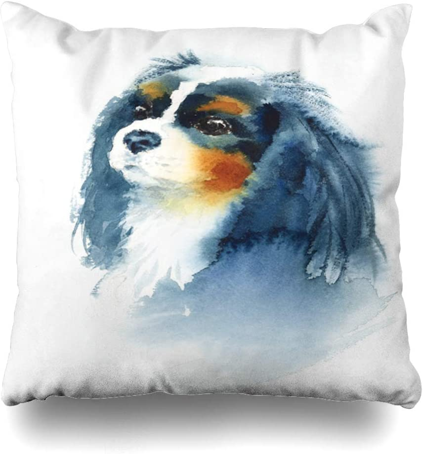 Ahawoso Throw Pillow Cover Square 16x16 Inches Drawn Cute Watercolor Pet Cavalier Pets Paper King Charles Spaniel Animals Wildlife Textures Baby Decorative Pillowcase Home Decor Cushion Pillow Case