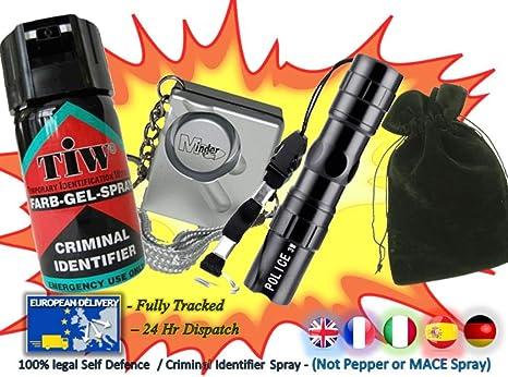 Gel Farb Ataque + Alarma + 3 W Mini linterna + bolsa de transporte=(la defensa personal Pack): Amazon.es: Deportes y aire libre