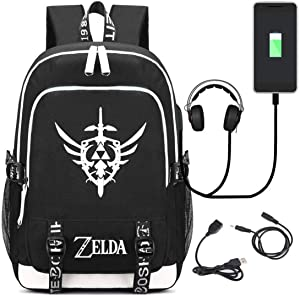 YOYOSHome Luminous Anime The Legend of Zelda Cosplay Bookbag Daypack Laptop Bag Backpack School Bag with USB Charging Port
