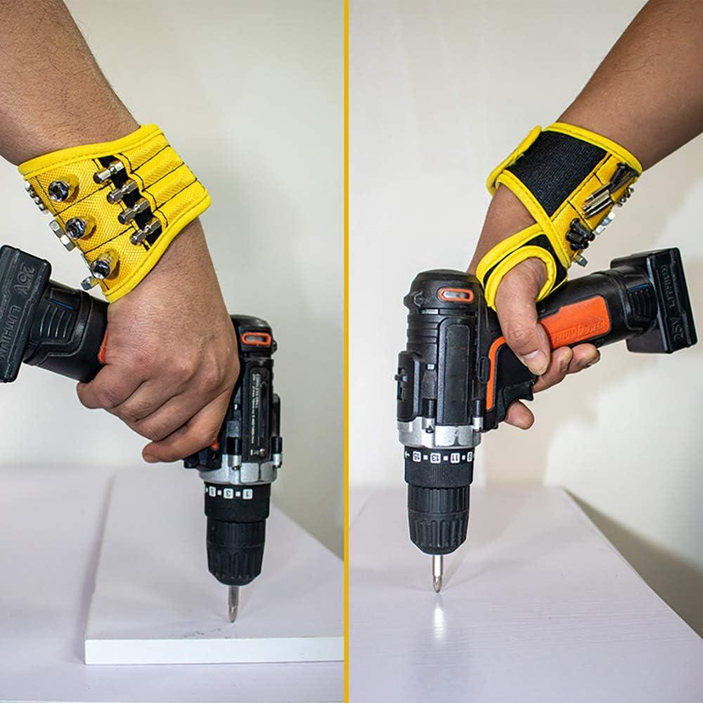 Pulsera magn/ética herramienta magn/ética mu/ñequeras herramienta herramienta titular ajustable velcro magn/ético tornillos pulsera