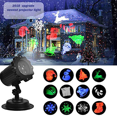 UNIFUN Christmas Laser Projector Light Bright Led Landscape Spotlight Indoor and Outdoor Waterproof Projection Led Lights for Christmas Decorations ()